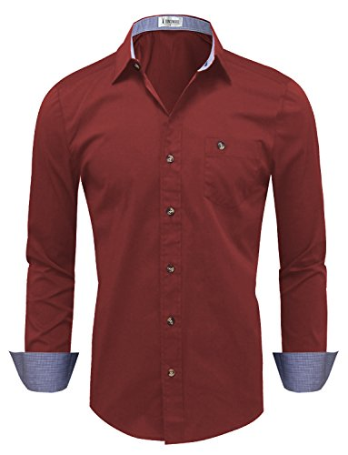 Tom's Ware Mens Classic Slim Fit Checkered Contrast Long Sleeve Dress Shirts TWNMS311S-311N-WINE-US (Toms Wear Button Up Shirt)