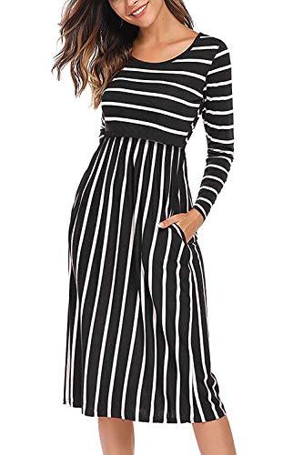 Hellmei Womens Long Sleeve Stripe Maternity Nursing Breastfeeding Dress