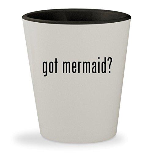 got mermaid? - White Outer & Black Inner Ceramic 1.5oz Shot - For Sale Glass Mako