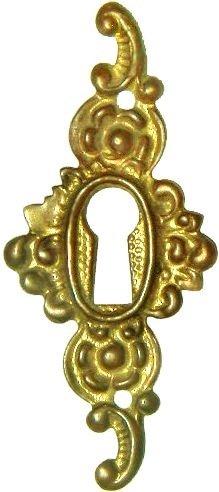 - Cast Brass Victorian Style Keyhole Cover Cabinet, Dresser, Desk Drawers Vintage Old Furniture Restoration Hardware + Free Bonus (Skeleton Key Badge) B-0251