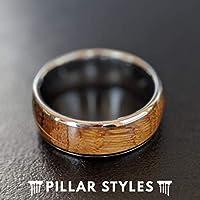 6mm Whiskey Barrel Rings For Men - Unique Tungsten Wedding Band Mens Ring - Bourbon Barrel Wood Ring