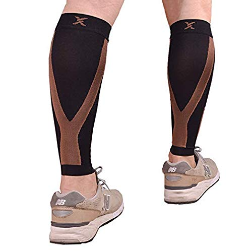 Thx4COPPER Calf Compression Sleeve(20-30mmHg) for Men & Women, Shin Splint Leg Compression Calf Sleeve- Great for Running, Cycling, Travelling- Improve Circulation and Recovery,S&M