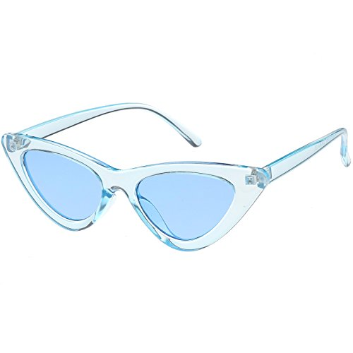 sunglassLA - Womens Exaggerated Translucent Cat Eye Sunglasses Color Tinted Lens 48mm (Blue / - Sunglasses Eye Cat Exaggerated