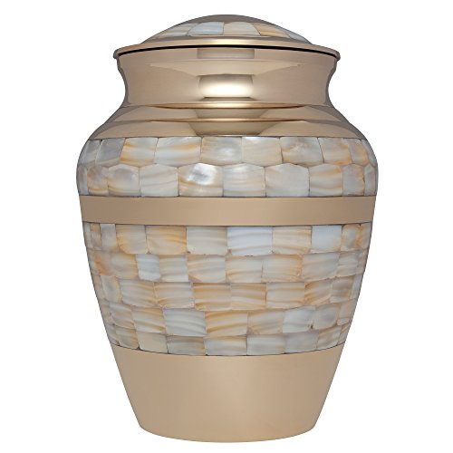 Liliane Memorials Mother of Pearl Bronze Funeral Cremation Urn for Human Ashes Hand Made in Brass – Suitable for Cemetery Burial or Niche – Large Size fits Remains of Adults up to 200 lbs,