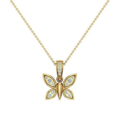 0.17 ct Dragonfly Diamond Pendant 14K Yellow Gold (14k Dragon Pendant)