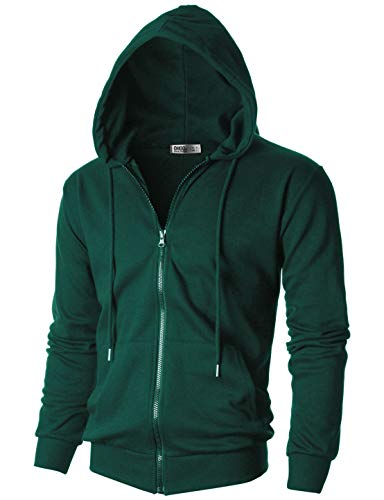OHOO Mens Slim Fit Long Sleeve Lightweight One-Tone Zip-up Hoodie with Kanga Pocket/DCF102-GREEN-L