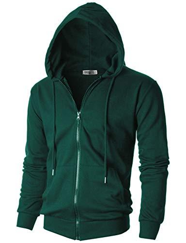 (OHOO Mens Slim Fit Long Sleeve Lightweight One-Tone Zip-up Hoodie with Kanga Pocket/DCF102-GREEN-L)