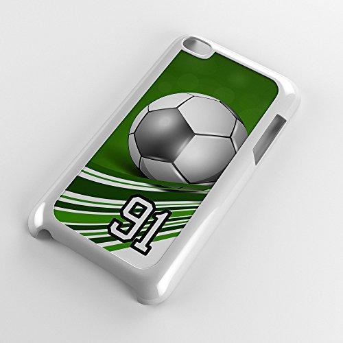 Generation 4 Soccer Ball Green Swirl Stripes Any Custom Jersey Number 91 White Plastic (Swirl Soccer Goalie Jersey)