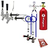 Kegco 2SCK-5T Two Keg Door Mount Kegerator Beer Tap Conversion Kit with 5 lb. CO2 Tank, Chrome