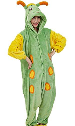 HW-GOODS Unisex Adult Cartoon Pajamas Animals Cosplay Costume Houseware Jumpsuit (XL(height: 170-180cm), caterpillar) (Adult Caterpillar Costumes)