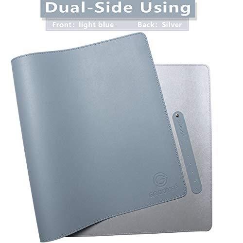 "GOODYEP Dual-Sided Desk Pad Office Desk Mat,2020 Upgrade Sewing Edge PU Leather Large Office Desk Mat,Waterproof Desk Blotter Protector, Desk Writing Mat Mouse Pad (Light Blue/Silver, 31.5"" x 15.7"")"