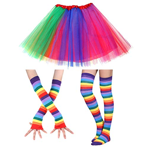 Faylapa 80s Rainbow Costume,Rainbow Tutu Skirt,Knee High Socks and Long Gloves Party 1980s Costume Accessory Set]()