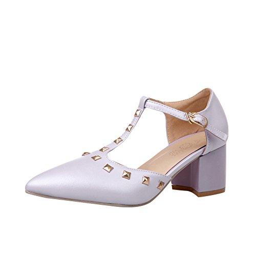 Charm Foot Mujeres Fashion Remaches T Correa Bombas Puntiagudas Zapatos Púrpura