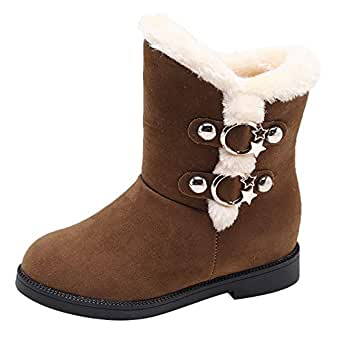 Womens Classic Lace Mid-Calf Flat Fur Short Snow Boot