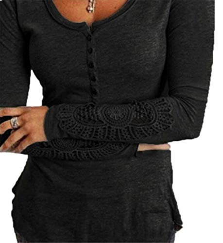 OTW Womens Solid Round Neck Slim Long Sleeve Lace Stitch T-Shirt Blouse Top