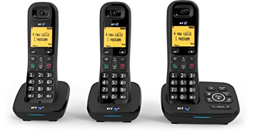 BT 1600 Cordless DECT Home Phone with Digital Answer Machine (Trio Handset Pack)