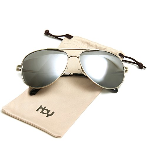 Sunglasses for Women Men by HBY, Classic Aviator Polarized Sunglasses Mirrored UV400 100% UV protection