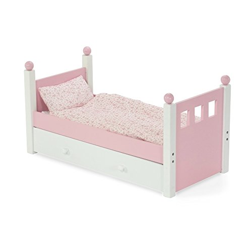 England Pink Rose - 18 Inch Doll Furniture | Lovely Pink and White Single Trundle Bed / Storage Drawer, Includes Thick, Plush Bedding | Fits 18