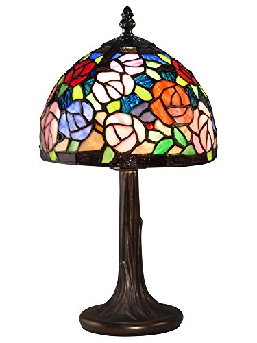 Dale Tiffany TA15050 Carnation Tiffany Accent Table Lamp, Antique Bronze
