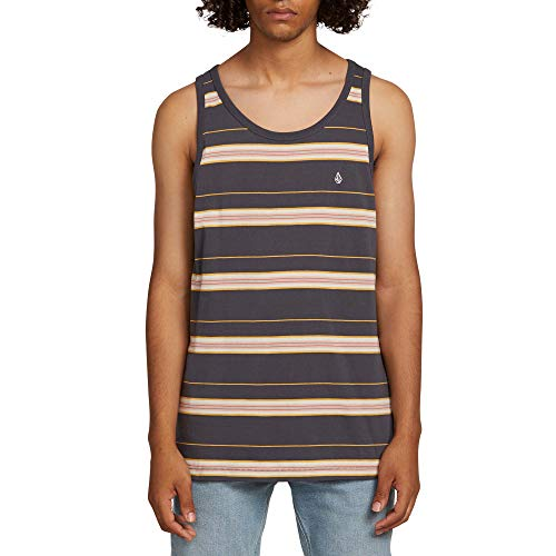 Volcom Men's Shaneo Striped Tank Top, Asphalt Black, Large (Tank Tops Volcom)