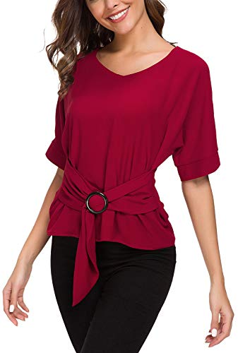 ACONIYA Womens Tie Knot Casual Belted Blouse Elegant Long/Short Sleeve Shirt Work Tunic Tops (red 2, 2XL) ()