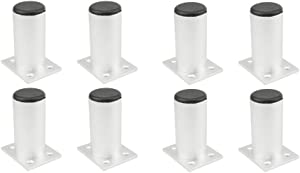 TOVOT 8 PCS Furniture Cabinet Metal Legs Aluminium Alloy Kitchen Feet Round Black and Silver(80 mm)