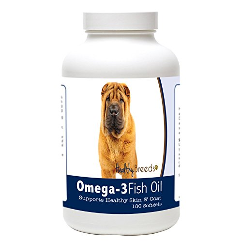 Healthy Breeds Dog Omega 3 Fish Oil Soft Gels for Chinese Shar Pei - Over 200 Breeds - Clean Source EPA DHA - Help Dry Itchy Skin - 180 Count
