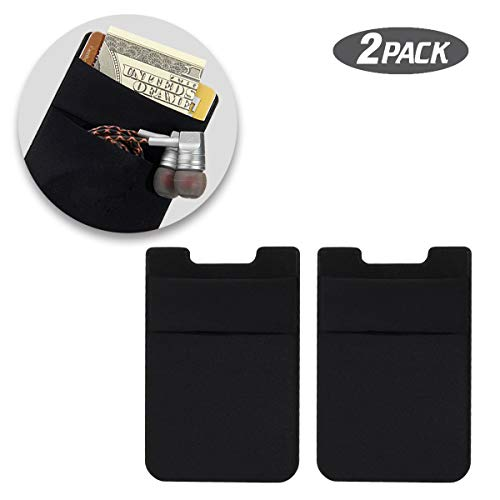 Slot Holder Card (SHANSHUI Phone Card Holder, Double Slots Secure Lycra Spandex Slim Adhesive Stretchy Credit Card Holder Case Stick On Pouch for Smart Phones (Black) - 2 Packs)