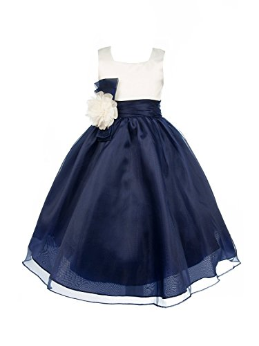 Dobelove Ivory Bodice Organza Skirt Flower Girl Dress Navy -