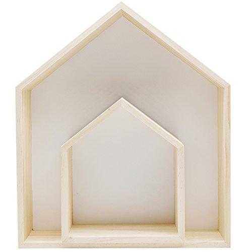 Da Jia 2PCS Wooden House-shaped Wall Storage Shelf Kid's Room Decoration(White)