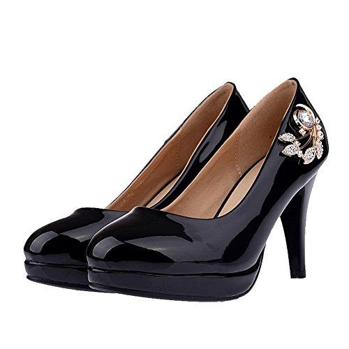 AllhqFashion Damen Ziehen auf PU Leder Hoher Absatz Eingelegt Pumps Schuhe Schwarz