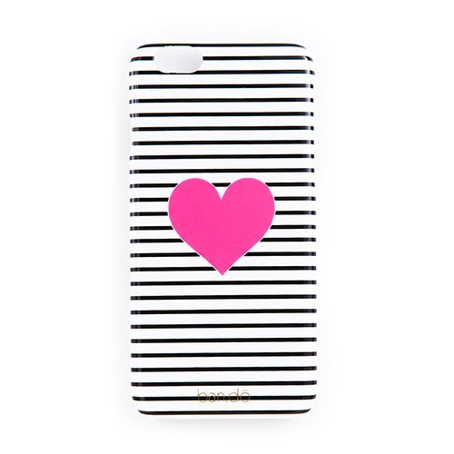 BAN.DO Bando iPhone 6 Case Cell Phone Cover Black/White Stripe Pink Heart -