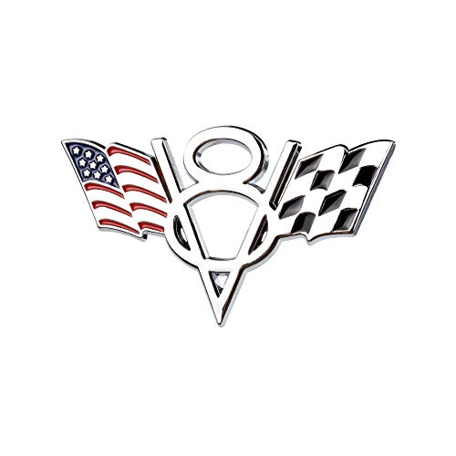 1797 Car Stickers Decals Accessories V8 US USA America Flag Stars Stripes F1 Racing Vehicle Decorations Emblem Bumper Trunk Tailgate Metal Aluminum Alloy Cute Funny Cool Silver White Red Blue Black ()