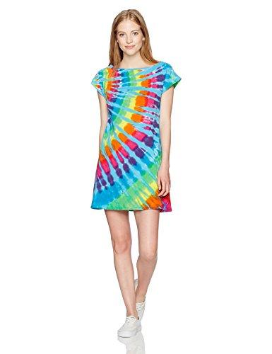 Liquid Blue Women's Rainbow Blue Streak Boat Neck Sundress, Tie Dye, (Rainbow Tie Dye)