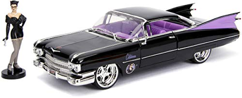 """DC Comics Bombshells Catwoman & 1959 Cadillac Die-cast Car, 1:24 Scale Vehicle & 2.75"""" Collectible Figurine 100% Metal from Jada"""