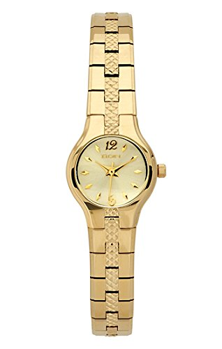 Elgin Crystal Watch (Elgin Ladies Watch #EG129 Gold Strap And Case with Gold Color Dial)