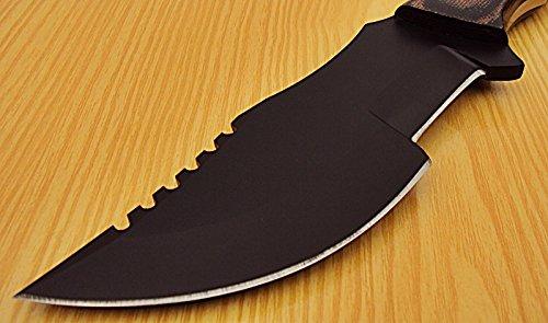 Poshland Knives TR-73 - Powder Carbon Coated Tracker Knife - Stunning Micarta Handle