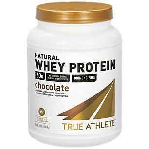 True Athlete Natural Whey Protein Chocolate, 20g of Protein per Serving Probiotics for Digestive Health, Hormone Free NSF Certified for Sport (1.5 Pound Powder)