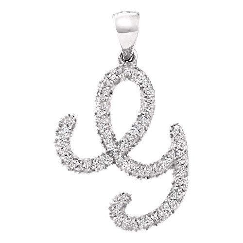 10kt White Gold Womens Round Diamond Cursive Letter G Pendant 1/5 Cttw -