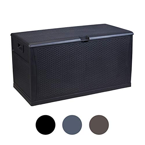 Leisurelife Plastic Deck Box Wicker 120 Gallon Black Waterproof Storage Container Outdoor Patio Garden Furniture