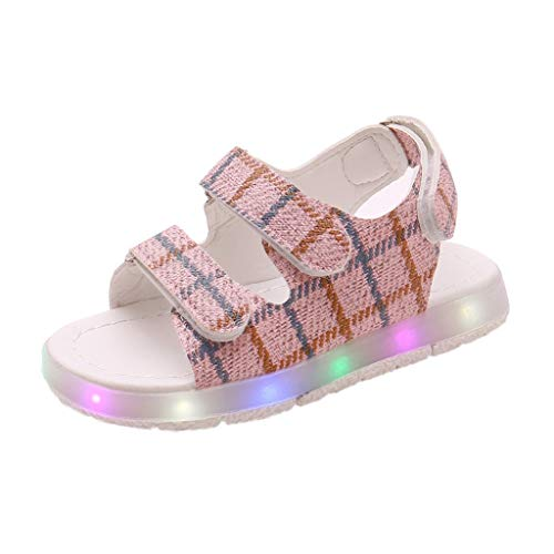 Orfilaly Baby Boys Girls LED Luminous Sandals, Toddler Kids Plaid Print Beach Shoes Casual Walking Sneakers Party Prom Shoes Pink