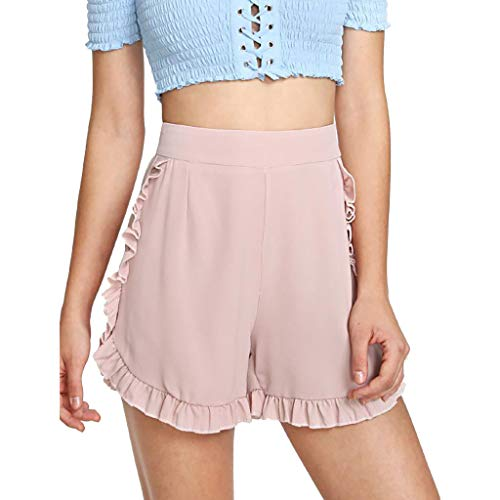 ❤️Sumeimiya Womens Beach Hot Pants, Ladies Fashion High Waist Floral Short Pants Summer Soild Wide Leg Casual Shorts
