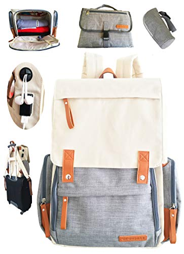 Baby Diaper Bag Backpack for Mom/Dad (Unisex Design) with Leather Details| Waterproof, Easy Bottom Access, Insulated Pockets, Stroller Straps, Luggage Belt, USB Port, Anti-Theft Pockets, Diaper Set