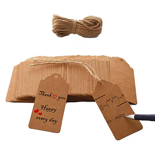 Brothersbox 120 PCS Kraft Paper Tags Craft Hang Tags with Free 100 Ft Natural Jute Twine, Writable Display Labels for Gifts, Wedding Valentine's Day Tags ,1.96 x 3.93 inches (Venture List Price)