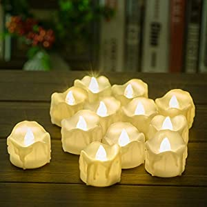 Battery Operated Timer Candles, PChero 12 Packs LED Flameless Votive Tea Lights Candle for Christmas Thanksgiving Home…