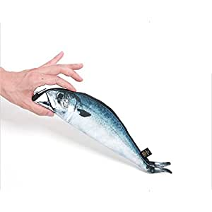 Mackerel fish zipper pouch weird pen pencil for Realistic fish pencil case