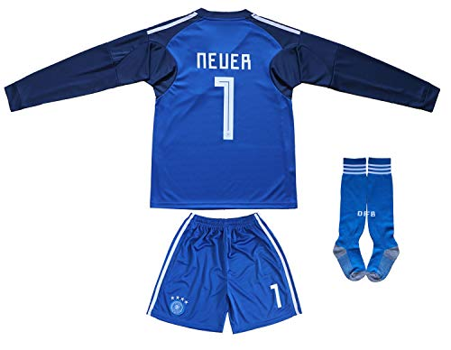 KID BOX Germany Neuer #1 Goalie Football Soccer Kids Goalkeeper Jersey Short Socks Set Youth Sizes (Blue (Long Sleeve), 8-9 Years)