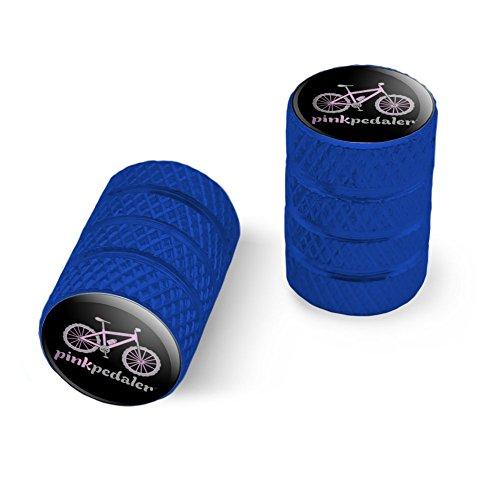 オートバイ自転車バイクタイヤリムホイールアルミバルブステムキャップ - ブルーピンクペダルマウンテンバイク自転車ロゴ