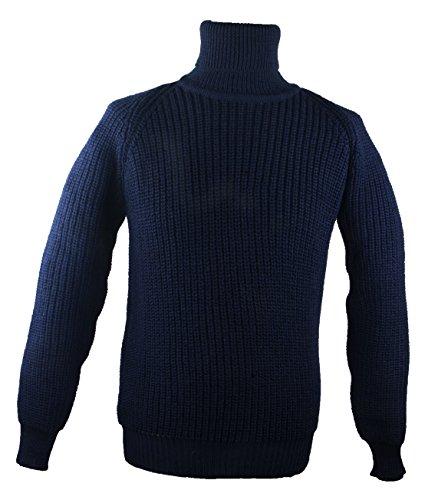Wool Roll Neck Sweater (100% Irish Merino Wool Fishermans Navy Roll Collar Rib Sweater by West End Knitwear)