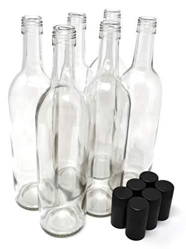 (Wine Bottles with Screw Caps, Clear, 750ml - Pack of 6 )